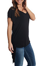 Panhandle Women's Black Cap Sleeve Fringe Casual Knit Top