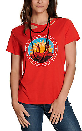 Panhandle Women's Red with Desert Graphic Cutout Neck Short Sleeve Tee