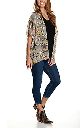 Panhandle Women's Tan Multi Snake Print Short Sleeve Kimono