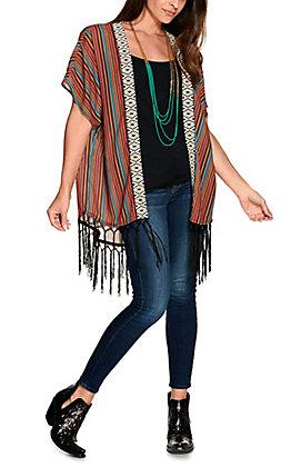 Panhandle Women's Serape Print with Fringe Cap Sleeve Kimono