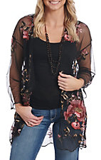 Panhandle Women's Black Floral Embroidered Kimono