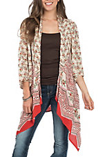 Patrons of Peace Women's Floral and Mixed Print Open Back Kimono