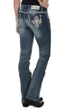 Grace in LA Women's Medium Wash with Cross Embroidered on Open Back Pockets Boot Cut Jeans