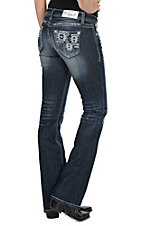 Grace in LA Women's Dark Wash with Blue Aztec Embroidery Open Pocket Boot Cut Jeans