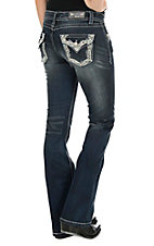 Grace in LA Women's Dark Wash with Sequin and Crystal Embroidered Open Back Pocket Boot Cut Jeans