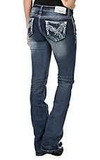 Grace in LA Women's Dark Wash with Silver Embroidery Open Pocket Boot Cut Jeans