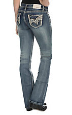 Grace in LA Women's Dark Wash With Cream Embroidery Open Pocket Boot Cut Jeans