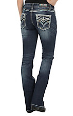 Grace in LA Women's Dark Wash with Gold and Blue Embroidery with Rhinestone Embellishments Open Back Pocket Boot Cut Jeans