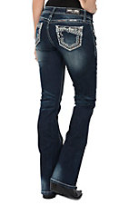 Grace in LA Women's Dark Wash with White Heavy Stitch Boot Cut Jeans