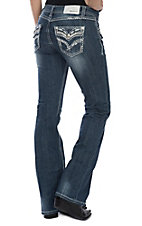 Grace in LA Women's Dark Wash Thick Stitched Open Flap Pockets Boot Cut Jeans