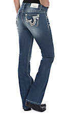 Grace in LA Women's Thick Swirl Stitching Boot Cut Jeans