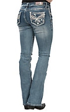 Grace in LA Women's X Stitch Open Pocket Boot Cut Jeans