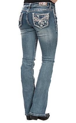 Grace in LA Women's X Stitch Open Pocket Boot Cut Jeans