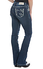 Grace in LA Women's Bling Embroidered Dark Wash Boot Cut Jeans