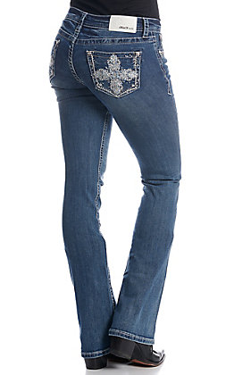 Grace in LA Women's Embellished Cross Open Pocket Boot Cut Jeans