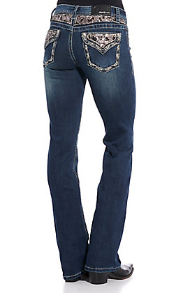 Grace in L.A. Women's Sequin Embellished Boot Cut Jeans