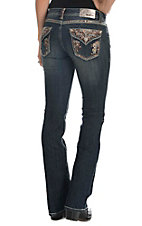 Grace in LA Women's Dark Wash with Native Embroidered Flap Pockets Boot Cut Jeans