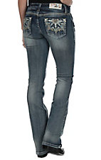 Grace in LA Women's Light Wash with Kaiedescope Flower Open Pockets Boot Cut Jeans