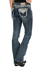 Grace in LA Women's Faded Dark Wash with Blue and Orange Triangle Embroidery Flap Pocket Boot Cut Jeans