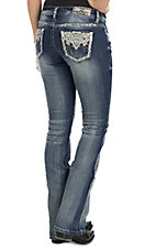 Grace in LA Women's Faded Medium Wash with Aztec Embroidery and Rhinestone Embellishments Open Pocket Boot Cut Jeans