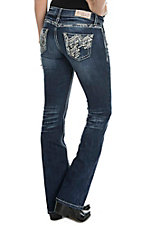 Grace in LA Women's Dark Wash with Blue and White Embroidery Embellished Open Pocket Boot Cut Jeans