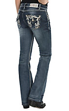 Grace in LA Women's Dark Wash with Sequin and Rhinestone Swirl on Fake Flap Open Back Pocket Boot Cut Jeans