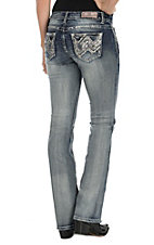 Grace in LA Women's Light Wash with Sequin Chevron Open Back Pocket Boot Cut Jeans