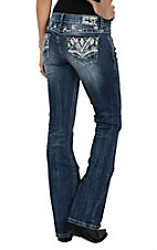 Grace in LA Women's Medium Wash White Stitching & Rhinestone Pockets Boot Cut Jeans