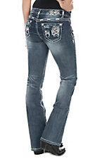 Grace in LA Women's Medium Wash with Pink Aztec Embroidery and Distressed Details Open Pocket Boot Cut Jeans