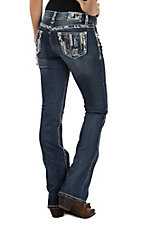 Grace in LA Women's Dark Wash Embroidered Open Pocket Boot Cut Jeans