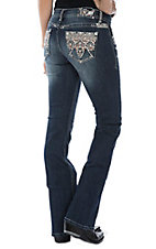 Grace in LA Women's Coral Diamond Stitching Boot Cut Jeans