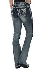 Grace in LA Women's Distressed w/ Sequins Boot Cut Jeans