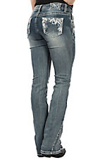 Grace in LA Women's Light Wash Embroidered Boot Cut Jeans