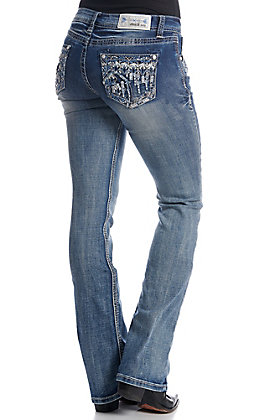 Grace in LA Women's Medium Wash Bling Embellished Boot Cut Jeans