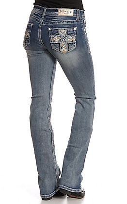 501c627ca97c Grace in LA Women's Distressed Bling Cross Boot Cut Denim Jeans