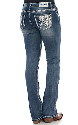 Grace in LA Women's Medium Wash Feather Embroidered Boot Cut Jeans