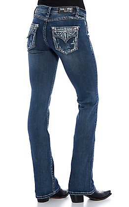 Grace in LA Women's Medium Wash Cross Faux Flap Boot Cut Jeans