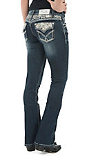Grace in LA Women's Dark Wash Sequins & Leather Crosses Flap Boot Cut Jeans
