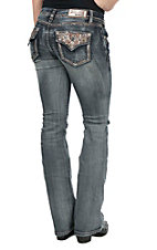 Grace in LA Women's Faded Medium Wash with Bronze Cross Embroidered Flap Back Pocket Boot Cut Jeans