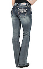 Grace in LA Women's Medium Wash Colorful Embroidery & Sequins Flap Pockets Boot Cut Jeans
