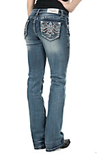 Grace in LA Women's Medium Wash Open Pocket with Colorful Zig Zag Embroidery Boot Cut Jeans
