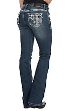 Grace in LA Women's Open Pocket Cross Boot Cut Jeans