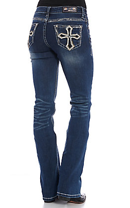 Grace in LA Women's Dark Wash Leather Cross with Embellishments Boot Cut Jeans