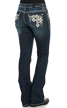 Grace in LA Women's Dark Wash Cross with Flowers Boot Cut Jeans