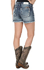 Miss Me Women's Medium Wash with Aztec Print Patches and Distressed Details Cut Off Shorts