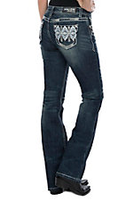 Grace in LA Women's Diamond Aztec Pocket Boot Cut Jeans
