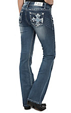 Grace in LA  Women's Medium Wash Embroidered Cross Open Pocket Boot Cut Jeans
