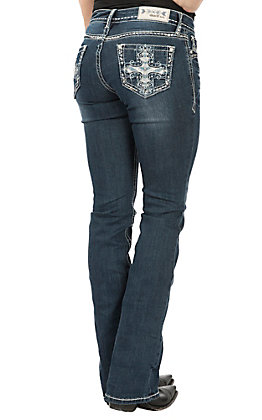 Grace in LA Women's Dark Wash Embroidered Cross Pocket Boot Cut Jeans