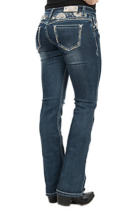 Grace in LA Women's Yoke-Detail Bootcut Jeans