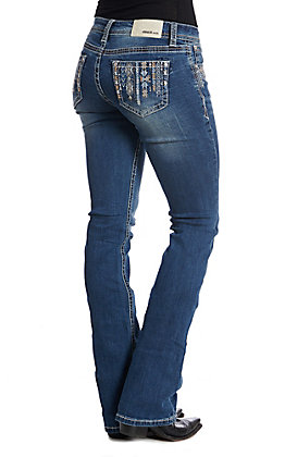 Grace in LA Women's Medium Wash Aztec Embroidered Boot Cut Jeans